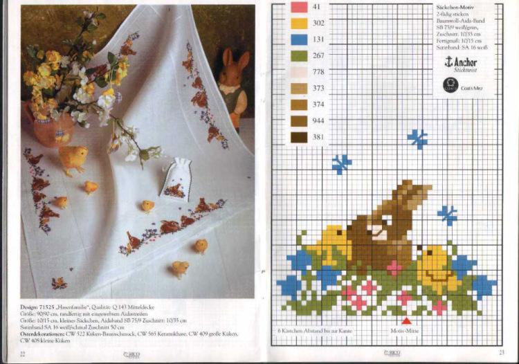 Схема вышивки на пасху скатерть