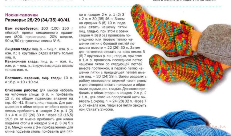 Ниткой.ру вязание спицами тапочек
