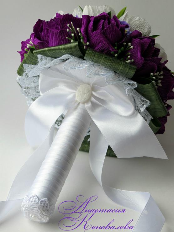 Букет невесты своими руками из гофрированной бумаги 93