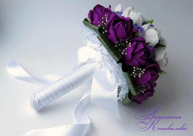 Букет невесты своими руками из гофрированной бумаги 1