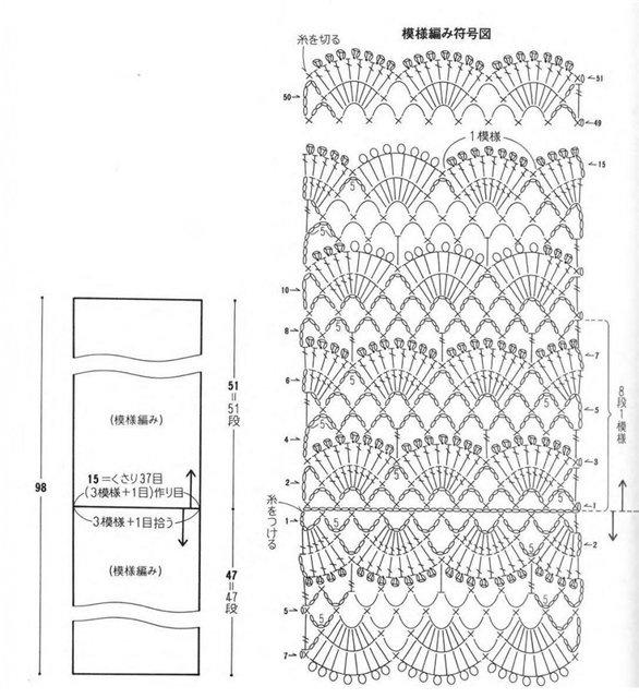 Вязание крючком схемы и модели шарфа 21