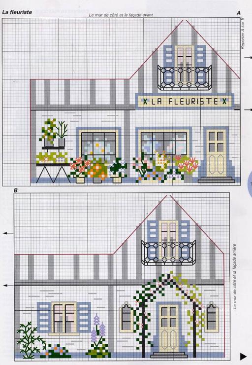 Вышивка схемы объемные домики 65