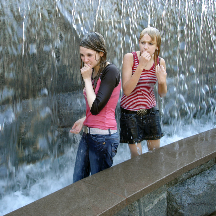 Teen Girls Getting Wet